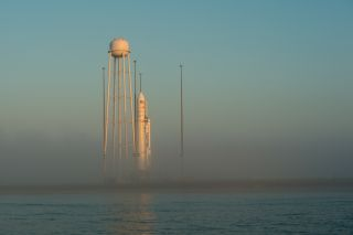 The Antares rocket on its launch pad.