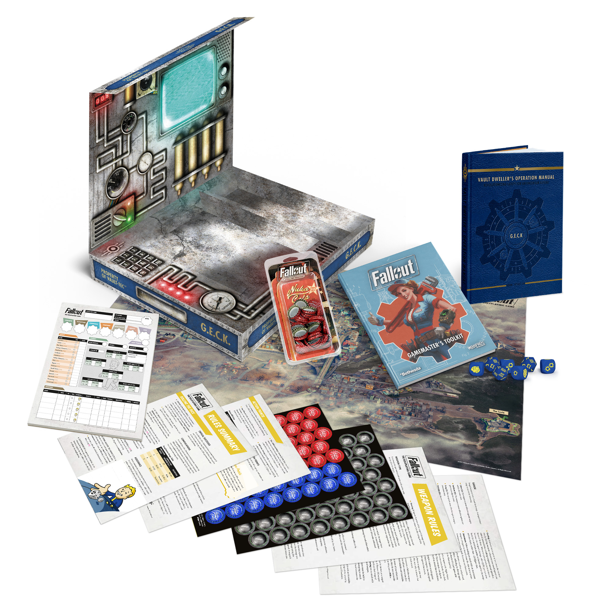 An image of the book and box for Fallout: The Roleplaying Game, a tabletop RPG based on the Fallout series.