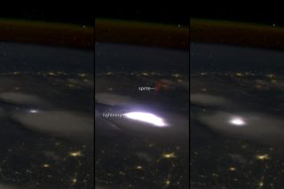 A red sprite, seen from the International Space Station