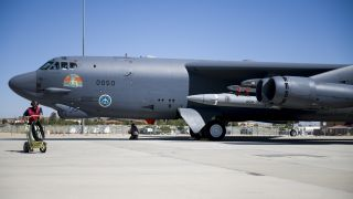 A B-52H Stratofortress undergoes pre-flight procedures at Edwards Air Force Base, California on Aug. 8, 2020, before a captive-carry flight test of the AGM-183A Air-launched Rapid Response Weapon (ARRW) Instrumented Measurement Vehicle 2 off the Southern California coast. An ARRW prototype was supposed to conduct its first powered flight on April 5, 2021, but did not deploy from its B-52H as planned.