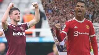 West Ham United vs Manchester United live stream — Declan Rice of West Ham United and Cristiano Ronaldo of Manchester United