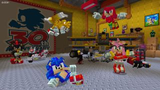 Sonic chilling with his mates in Minecraft