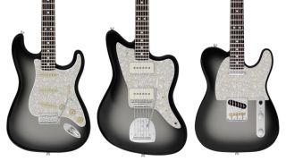Fender Silverburst electric guitars