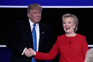 hillary clinton and donald trump shake hands