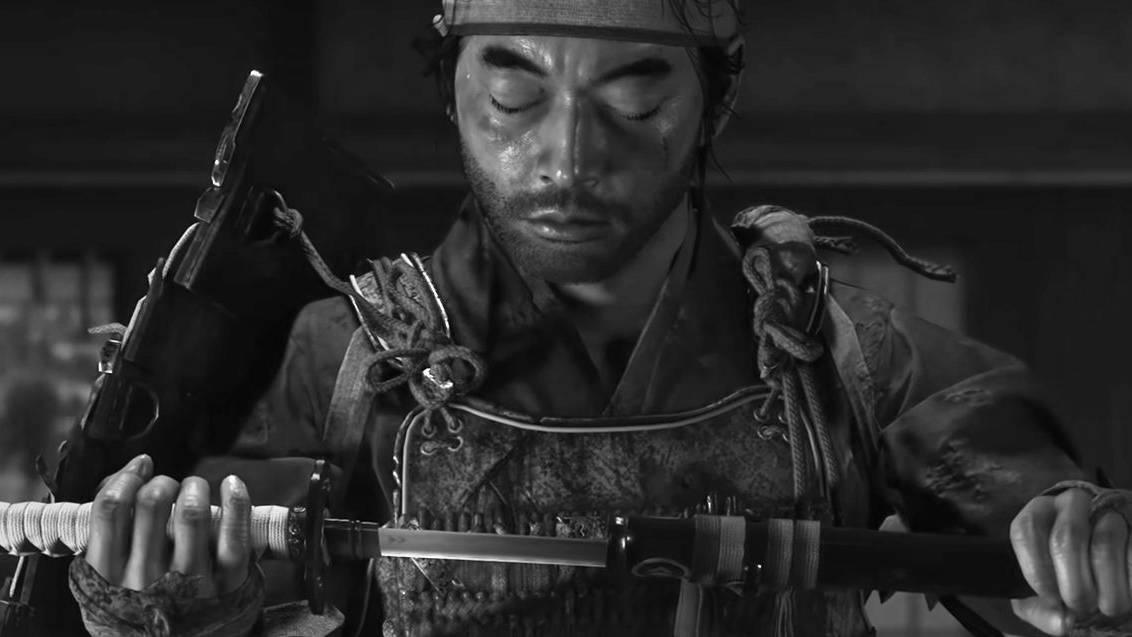 Jin Sakai from Ghost of Tsushima looking down at his katana.
