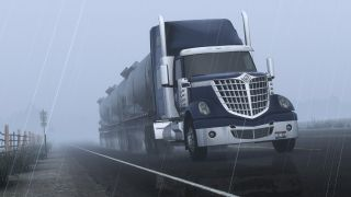 Truckin' in the rain.