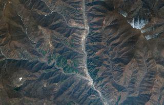 This DigitalGlobe satellite image shows Punggye-ri, the North Korea nuclear test site.