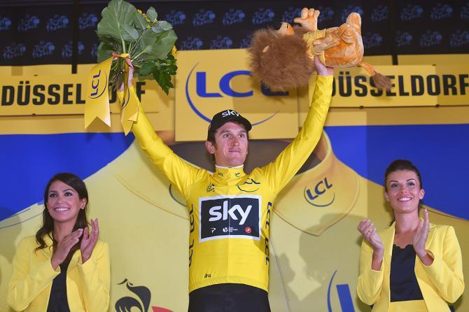 Geraint Thomas celebrates his Tour de France opening time trial win.
