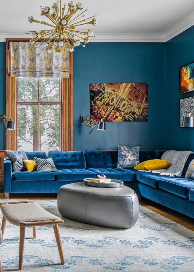 astounding white blue green living rooms | Moody And Dramatic Dark Blue Living Room Ideas and Paint ...