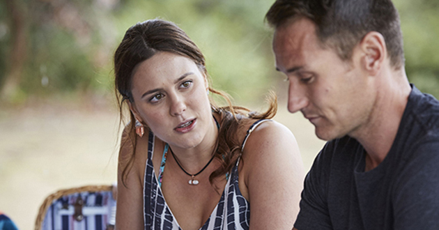 Caroline Stewart and Duncan Stewart (BENEDICT discuss the past, observed by Alf Stewart who is not pleased in Home And Away.