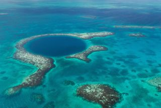 The blue hole, as seen from the air.