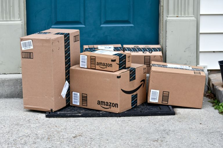 Lockdown UK: Amazon packages outside front door