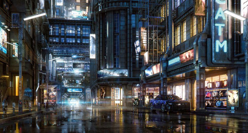 An illuminated city street at night