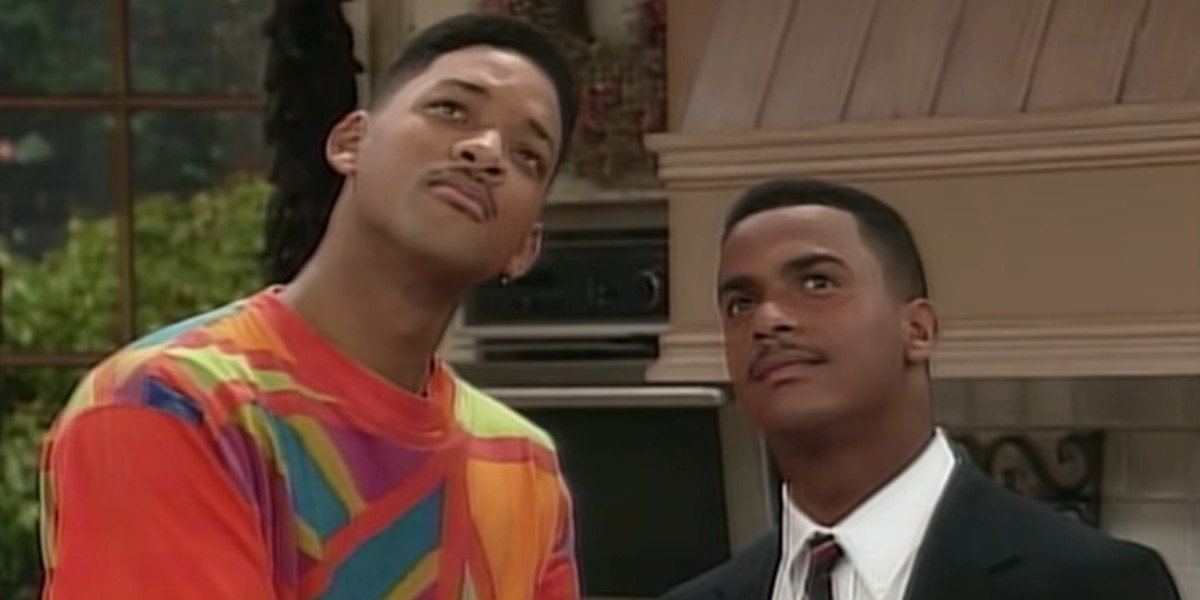 Will and Carlton plotting a scheme on The Fresh Prince of Bel-Air
