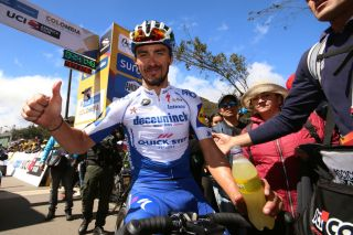 EL ONCE ALTO VERJN COLOMBIA FEBRUARY 16 Arrival Julian Alaphilippe of France and Team Deceuninck Quick Step during the 3rd Tour of Colombia 2020 Stage 6 a 1826km stage from Zipaquir to El Once Alto Verjn 3290m TourColombiaUCI TourColombia2020 on February 16 2020 in El Once Alto Verjn Colombia Photo by Maximiliano BlancoGetty Images