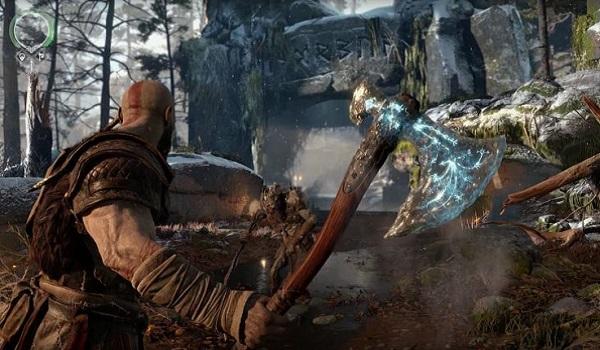 Kratos wields his ax in god of war