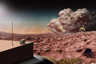 """An artist's concept of an electric Martian dust storm. New research shows that Martian storms may """"crackle with electricity,"""" but are probably incapable of generating long bolts of lightning."""