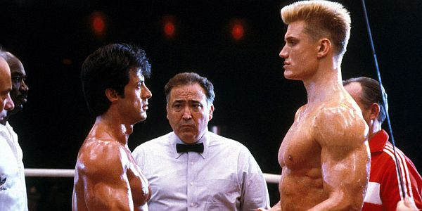 Sylvester Stallone and Dolph Lundgren facing off in Rocky IV