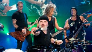 A picture of Metallica performing live