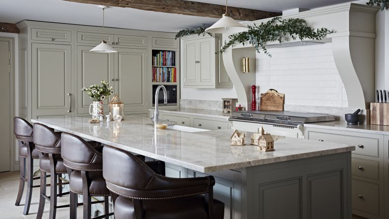 Kitchen corner cabinets with a built-in bookshelf and installed microwave oven