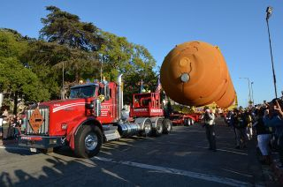 NASA's last remaining flight-qualified space shuttle external tank arrived at Exposition Park in Los Angeles, home to the California Science Center, at about 6:15 p.m. PDT on Saturday, May 21, 2016.