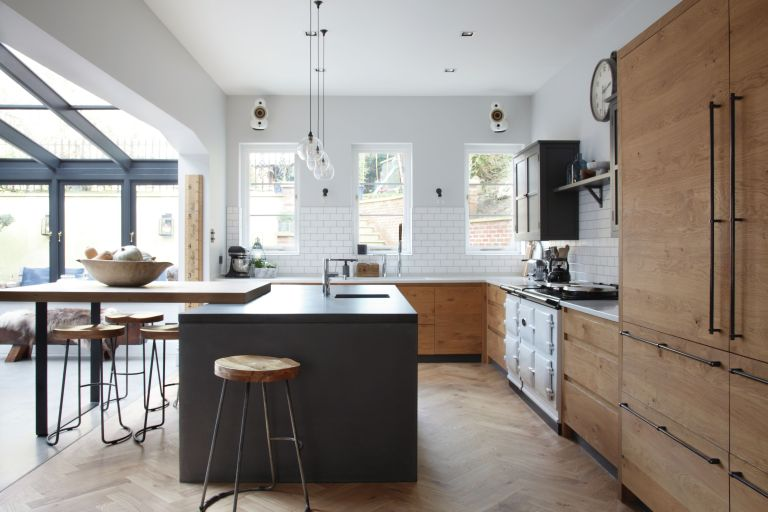 open plan kitchen diner with industrial feel by fritz fryer