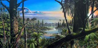 An illustration of the temperate rainforest that thrived in West Antarctica about 90 million years ago, when dinosaurs still walked the Earth.