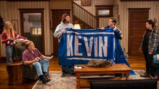 From left: Annie Murphy as Allison, Brian Howe as Pete, Alex Bonifer as Neil, Eric Petersen as Kevin, and Mary Hollis Inboden as Patty in AMC's 'Kevin Can F*** Himself'