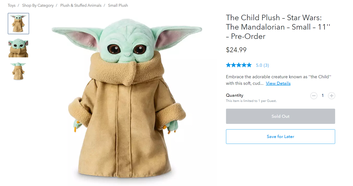 The Child Plush Disney sold out