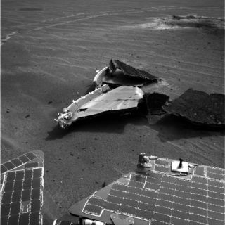 Mars Rover Wanders Through Littered Landscape