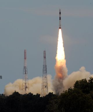 The Polar Satellite Launch Vehicle blasted off with the Megha-Tropiques satellite at 11 a.m. local time on Oct. 12, 2011.