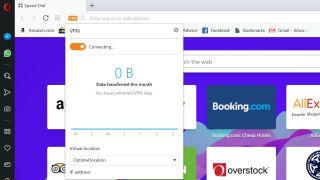 While the progressive Opera browser has an integrated free VPN, we have noticed that it has not been able to make the connection to initiate the encrypted tunnel over the last several months (Image Credit: TechRadar)