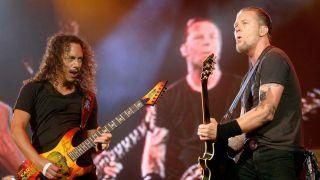 Kirk Hammett and James Hetfield of Metallica during Rock In Rio Lisboa - Day 4 at Belavista Park in Lisbon, Belavista Park, Portugal.