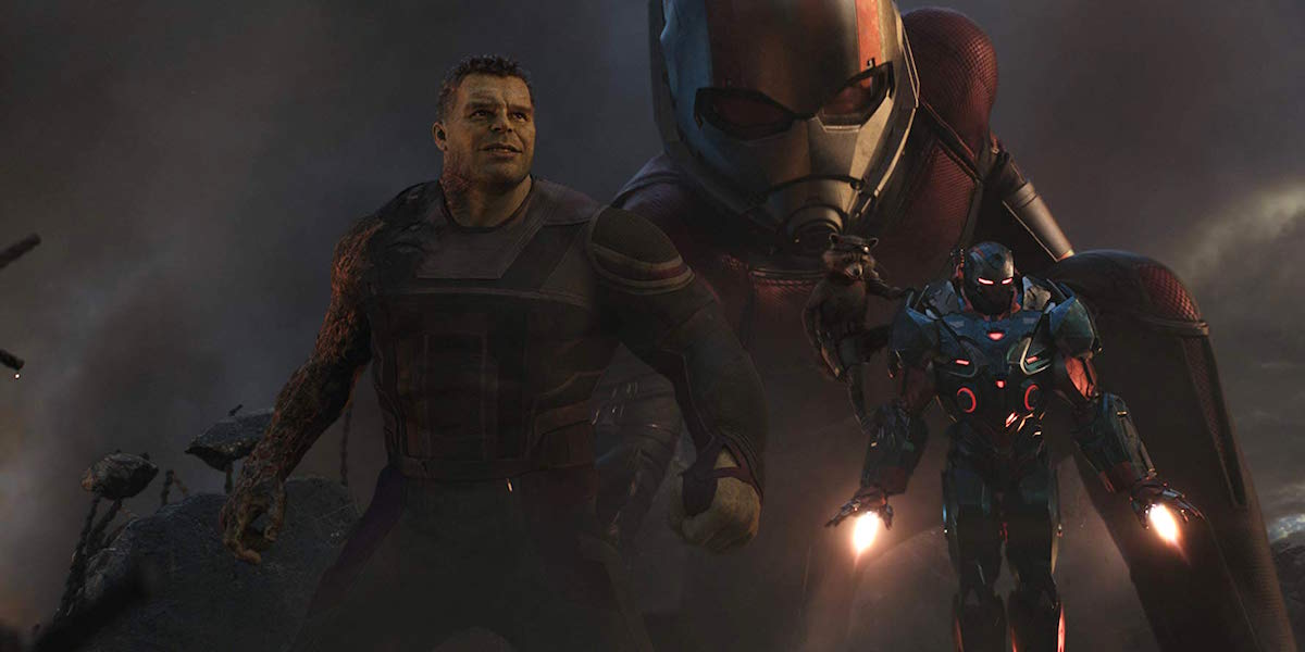 Hulk, Ant-Man, War Machine and Rocket Raccoon in Avengers: Endgame