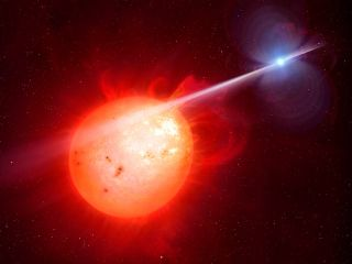 A white dwarf star (the remains of a star that has run out of fuel) is whipping its companion with a beam of radiation. This artist's impression shows the pummeled companion in the foreground.