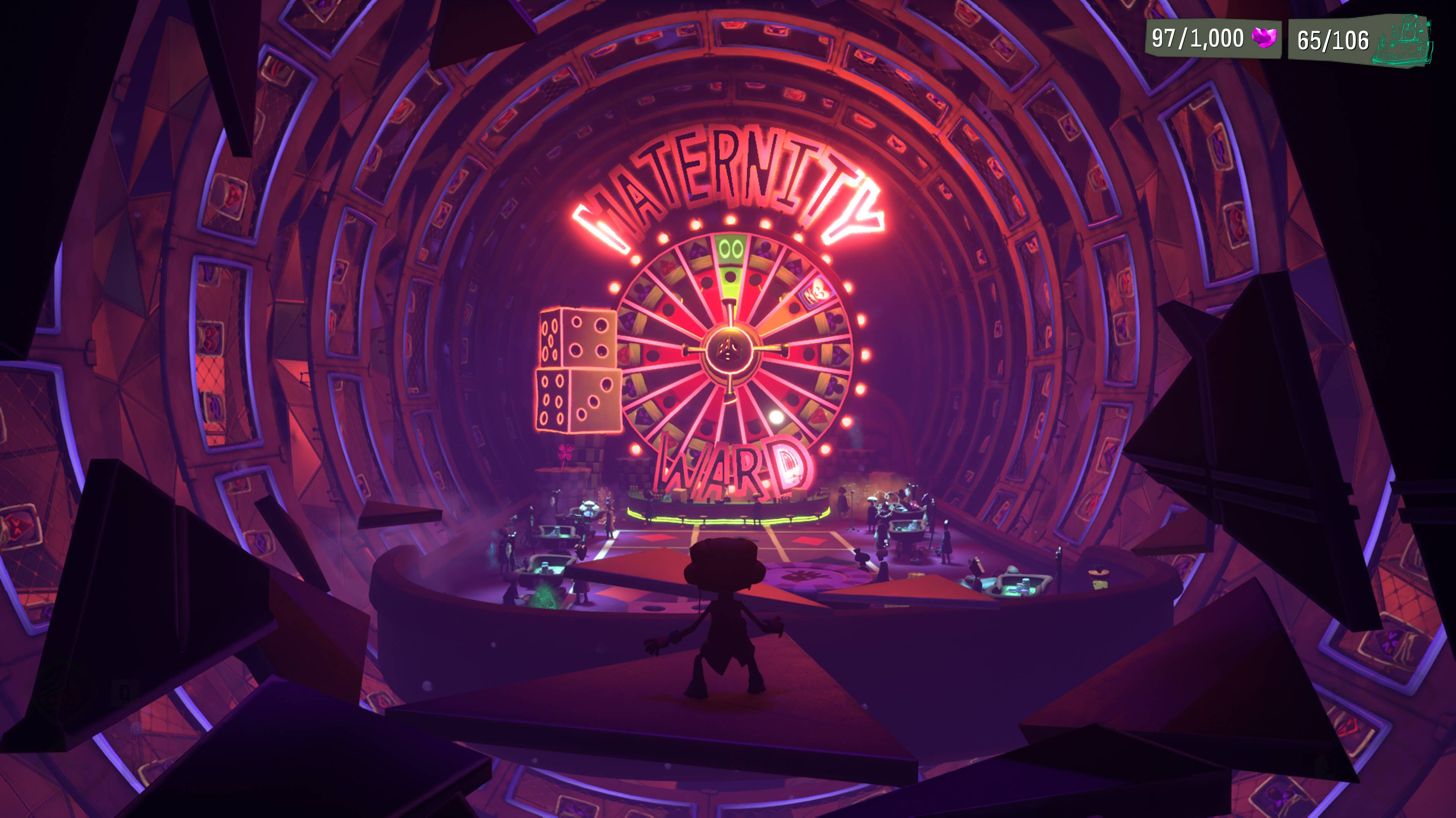 Raz enters a room with a giant roulette-wheel on the wall, and the word