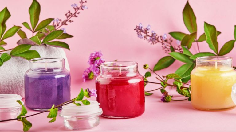 UK's favourite scented candle, Scented candles for Spa and home with green leaves on a pink background