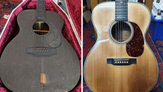 Burned and restored Martin acoustic guitar