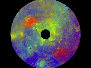 This image using color data obtained by the framing camera aboard NASA's Dawn spacecraft shows Vesta's southern hemisphere in color, centered on the Rheasilvia formation.