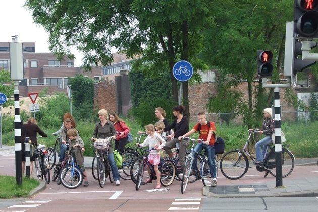 cycling commuter traffic light netherlands