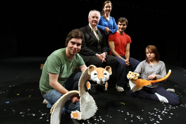 Philip Pullman with some of the actors who starred in His Dark Materials at the Playhouse Theatre in Oxford
