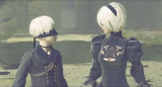 An image of white-haired, black wearing protagonists 2B and 9S from NieR: Automata