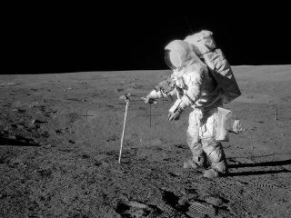 Astronaut Alan Bean on lunar surface
