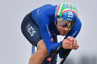 Italian Filippo Ganna of Ineos Grenadiers Team competes in the time trial race from KnokkeHeist to Brugge during the Mens Elite as part of the UCI World Championships Road Cycling Flanders 2021 in Bruges on September 19 2021 UCI World Championships Road Cycling Flanders 2021 takes place from September 19 until September 26 2021 in several cities in the Belgian region of Flanders Belgium OUT Photo by DAVID STOCKMAN BELGA AFP Belgium OUT Photo by DAVID STOCKMANBELGAAFP via Getty Images