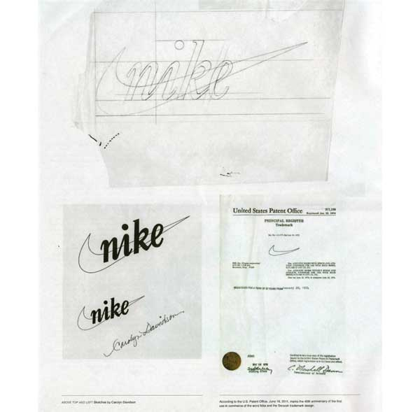Early sketches of the Nike logo and US Patent papers