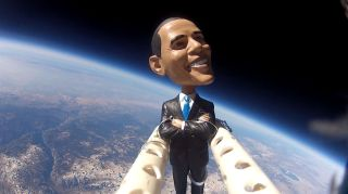 Obama Bobblehead Flies Above California