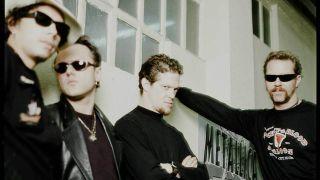 Metallica in a dressing room on their European tour