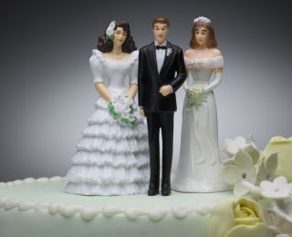 A plastic cake topper includes one groom and two brides.