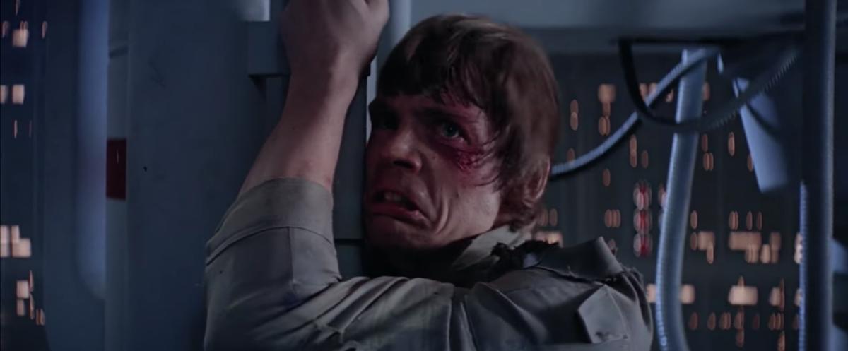 "Mark Hamill as Luke Skywalker ""I am your father"" scene in Star Wars: Empire Strikes Back"