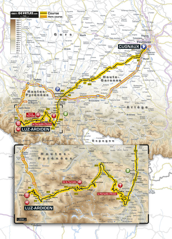 Stage 12 map, Tour de France 2011